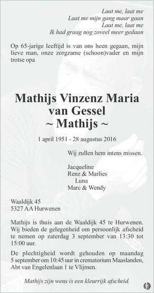 Rouwkaart Matijs van Gessel